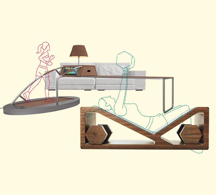 러닝 머신처럼 몸집이 큰 운동기구를 집에 들일 때는 깊이 고민해야 한다. 운동은 작심삼일로 끝난 채, 갖다 버리지도 못하는 애물단지에게 거실을 내줘야 할지도 모르니까 말이다. 대안은 피트니스 퍼니처다. 운동기구와 디자인 가구, 2가지 맡은 바 소임을 톡톡히 해낸다. ::가구, 디자인가구, 실내인테리어, 인테리어, 헬스, 운동가구, 러닝머신, 운동, 운동기구, 피트니스퍼니처, 코스모폴리탄, COSMOPOLITAN