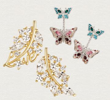 별처럼 빛나는 나뭇잎과 무지갯빛 날개를 펄럭이는 나비. 당신의 여성스러움을 한껏 끌어올릴 신비로운 매력의 자연 모티브 주얼리를 주목하라.